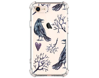Crow and Branch Phone Case , iPhone 11, 11 Pro, 7 plus, 8, 8 Plus, X, Xs MAX, XR, Samsung Galaxy S8, S8 Plus, S9, s9 plus, Note 8, Note 9