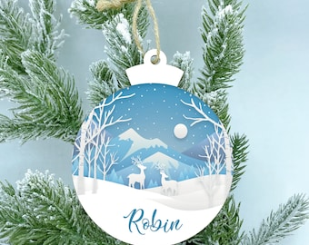 Reindeer Christmas Wood Ornament, Winter wonderland, Personalize Color Name Ornament, Christmas ornaments handmade, 2020 Ornaments