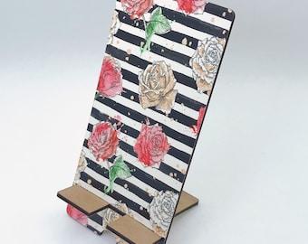 Stripe Roses Watercolor Design Phone Holder, Tablet Holder, Custom Phone stand, Gift for teacher, Birthday Gift, Charging stand