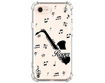 Saxophone Music Note, Custom phone case, iPhone  7, 8, 8 Plus, X, 11, Xs MAX, XR,  Galaxy S8, S8 Plus, S9, s9 plus, Note 8, Note 9
