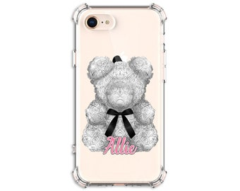 Rose Teddy Bear Phone Case, Personalized Rose Flower Case, iPhone 8, Xs MAX, XR, 11, Galaxy S10, S8 Plus, S9, s9 plus, S21, Note 8, Note 9