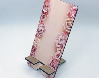 Pink Roses Design Phone Holder, Tablet Holder, Custom Phone stand, Gift for teacher, Birthday Gift, Charging stand