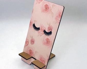 Pretty Lashes Design Phone Holder, Tablet Holder, Custom Phone stand, Gift for teacher, Birthday Gift, Charging stand