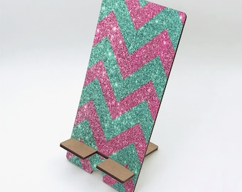 Pink and Teal Chevron Glitter Phone Holder, Tablet Holder, Custom Phone stand, Gift for teacher, Charging stand