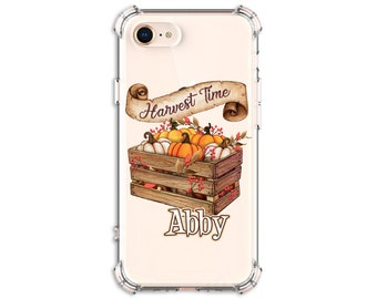 Harvest Time Pumpkin Basket Phone Case, Personalized Case, iPhone 8, 8 Plus, Xs MAX, XR, 11, 12, Galaxy S10, S8 Plus, S9, Note 8, Note 9