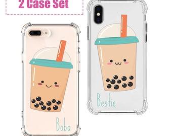Boba Tea Bestie Phone set, iPhone SE, 6 plus, 7, 7 plus, 8, 8 Plus, X, Xs, Xs MAX, XR, Galaxy S8, S8 Plus, S9, s9 plus, Note 8, Note 9