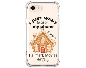 Hallmark Movies All Day Phone Case, Gingerbread house, iPhone 12, 11 pro, 11 pro Max, 8 Plus, X, Xs MAX, XR, 12 pro, Galaxy Note 20, Note 9
