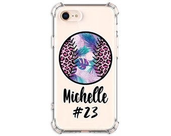 Softball Leopard Design case, iPhone 12, 12 pro, 12 pro max, 8, 8 Plus, X,  Xs MAX, XR, Galaxy S20 fe, Note 20, s9 plus, Note 8, Note 9, S10