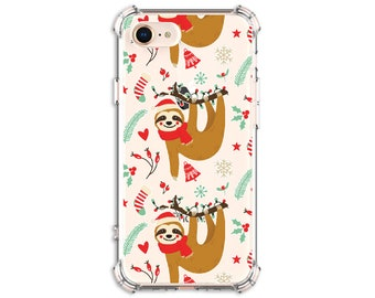 Christmas Sloth personalize Case, iPhone 11, 7 plus, 12 pro, X, Xs MAX, XR, iPhone 11, Galaxy S10, S10 Plus, S20 FE, S20, Note 8, Note 9, 10