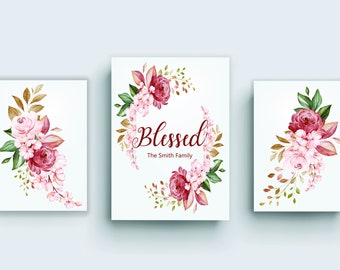 3 Panel Canvas wall art, Blessed sign, Blessed Flower, Personalized Last Name Wall Art, Flower Prints, Blessed Gift, Blessed mama