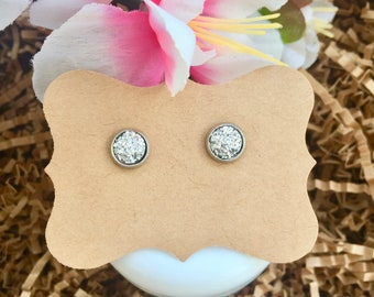 Silver Druzy Earrings
