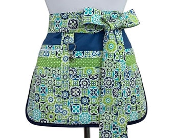 Retro Quilted Apron  DAISY  Vintage Style Apron  Coral Teal  Powder Blue  Reversible