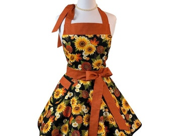 Women's Flirty Fall Floral Apron - Cute Retro Thanksgiving Kitchen Apron - Fun Baking Apron - Personalized Gift for Wife or Mom