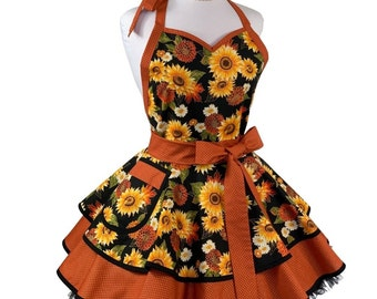 Women's Plus Size Fall Sunflower Apron - Cute Retro Thanksgiving Apron - Personalized Gift for Wife, Mom or Friend