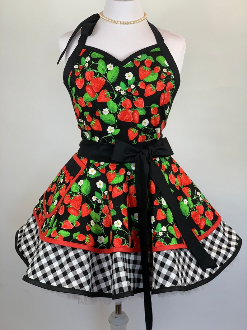 Vintage Aprons, Retro Aprons, Old Fashioned Aprons & Patterns Womens Retro Strawberry with Gingham Check Pin Up Kitchen Apron - Plus Size Apron Available - Personalized Gift for Family and Friends $60.00 AT vintagedancer.com