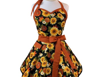 Womens Fall Floral with Sunflowers Apron - Flirty Thanksgiving Apron with Pocket - Personalized Gift for Wife, Mom and Friends
