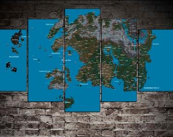 Tamriel World Map TES Map Tamriel Poster The Elder Scrolls Nirn Map TES  Poster Elder Scrolls Map Tamriel Art Skyrim Map TES World Map