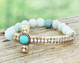 Crystal Wing with /'Believe/' Charm Amazonite Beaded Stretch Bracelet