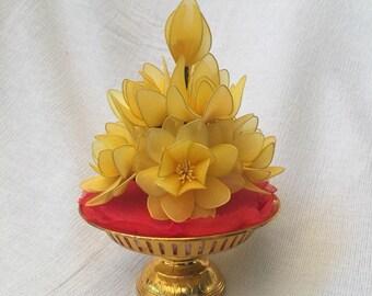 Handmade yellow lotus nylon stocking flower