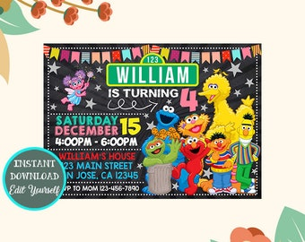Sesame Street Birthday Invitation Party