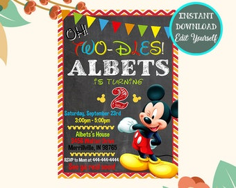 Mickey Mouse Birthday Invitation Instant Download Party