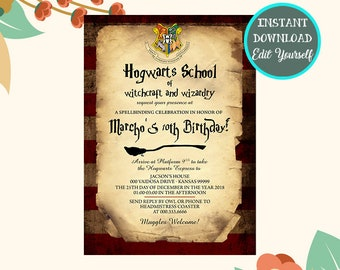 Harry Potter Birthday Invitation Invitations Invite