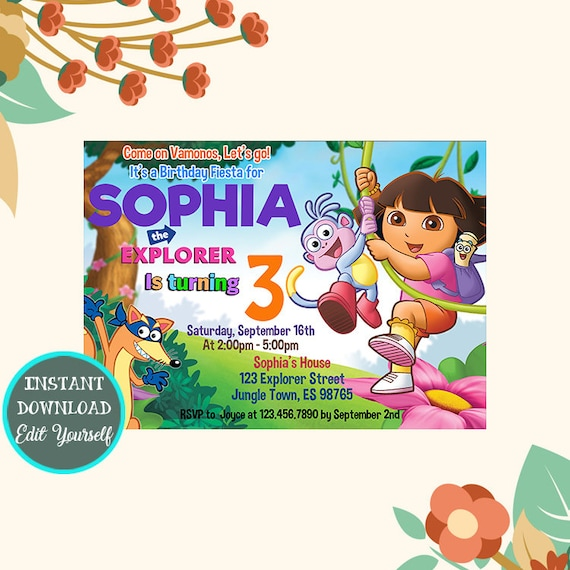 Dora Invitation Dora The Explorer Invitation Dora The Etsy