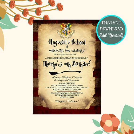 Harry Potter Birthday Invitation Harry Potter Invitation Etsy