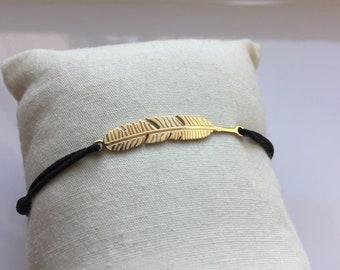 Feather trend 2018 gold silver steel adjustable bracelet