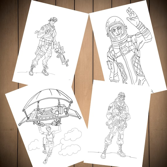 Fortnite Battle Royale Coloring Pages Set Of 4 For