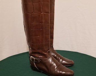 33edea10b9 Woman's Vintage Charles David Italian Made Leather Riding Boots. Sz. 6 Brown