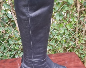 e54b46ad5fb0a S.z. 11 Tall Black Leather Riding Boots By Naturalizer/Vintage   Etsy