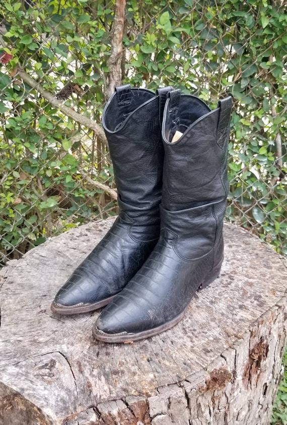 Zodiac Black Western Leather Boots Size 9/ Gator P