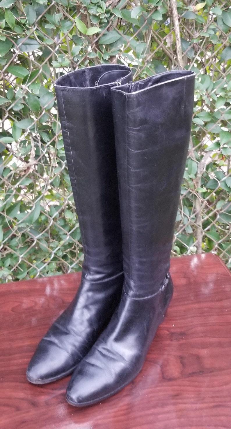 422bdfe6943 S.z 8 1970's Salvatore Ferragamo Black Leather Zip-up Flat Boots//Stacked  Heel/Vintage/Woodstock era boots/Hipster boots.
