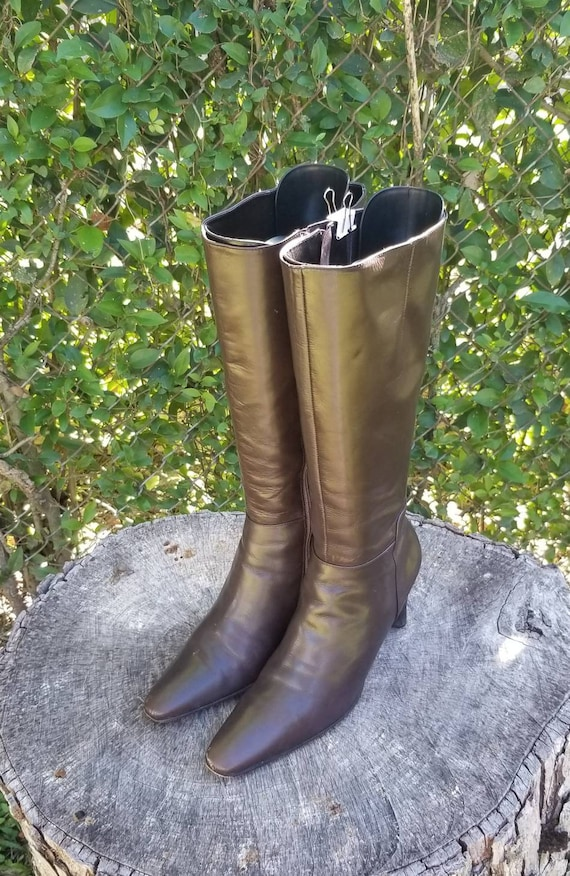 Sz 8.5 Vintage Riding Boots/ Genuine Leather Tall