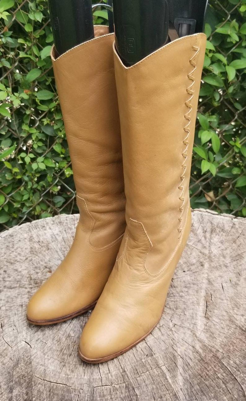 Black Cowboy Boots Black Western Boots Vintage 1980s Cowboy Boots Black Leather Boots