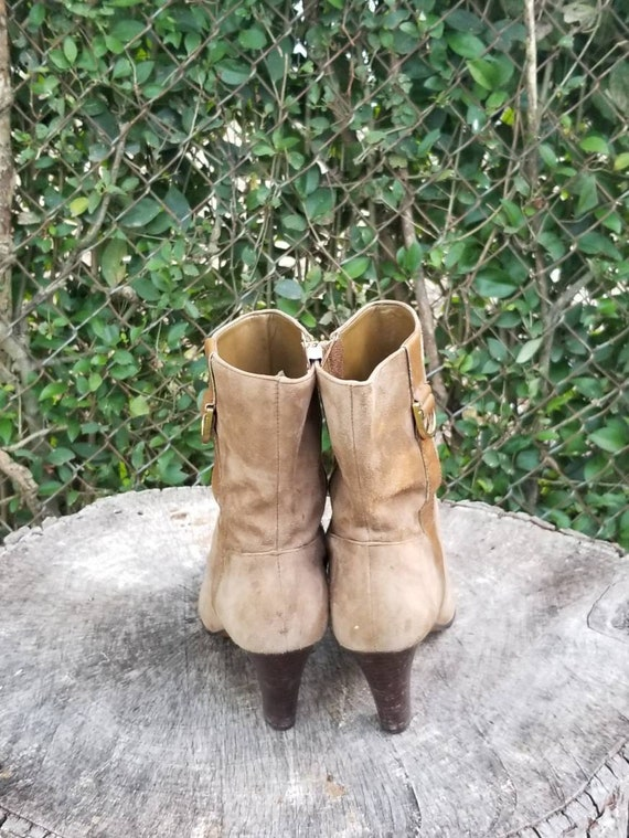 Sz 8 Vintage Ankle Boots/Genuine Suede Leather Zi… - image 6