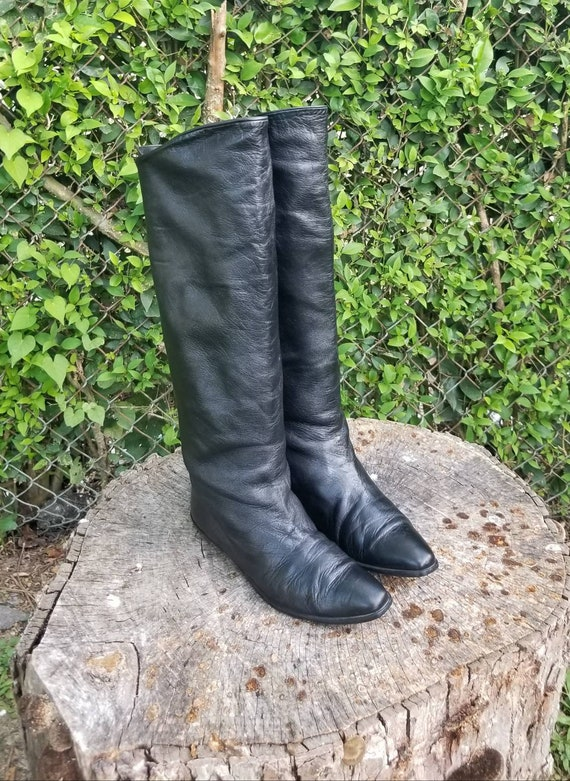 Sz 7.5 Genuine Leather Vintage Tall Slouchy Riding