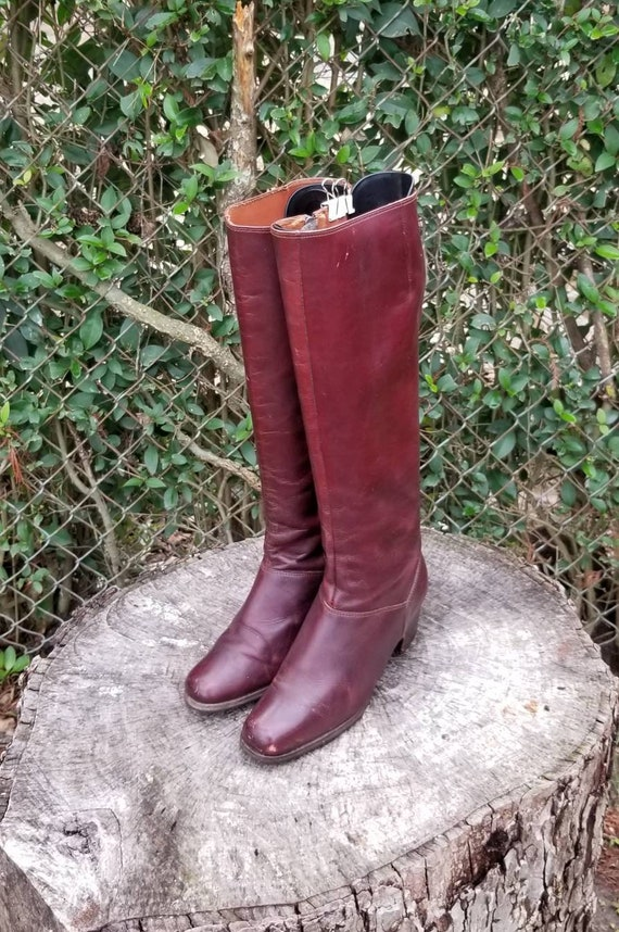 Sz 6 Vintage Mid-Calf Boots/Genuine Leather Zipper