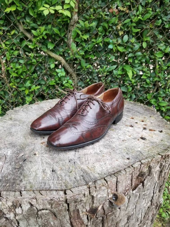 Sz 8.5 Genuine Leather Oxford Wingtip Lace Up Flat