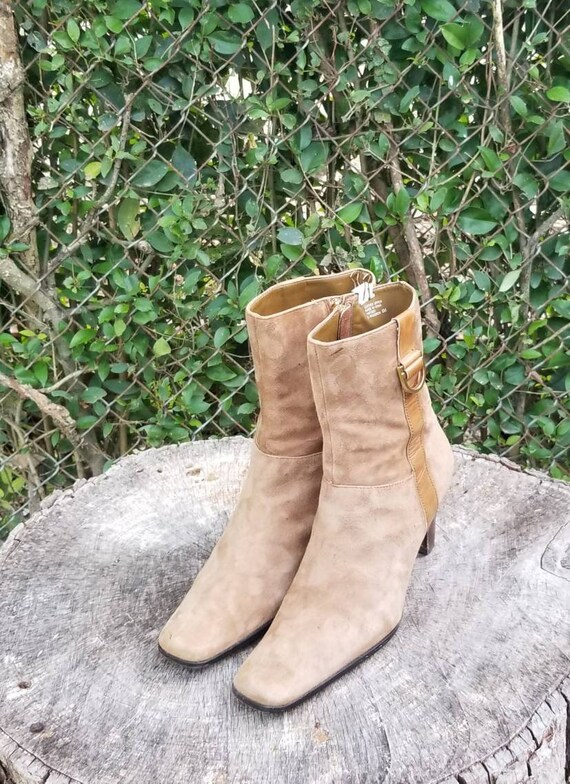 Sz 8 Vintage Ankle Boots/Genuine Suede Leather Zip