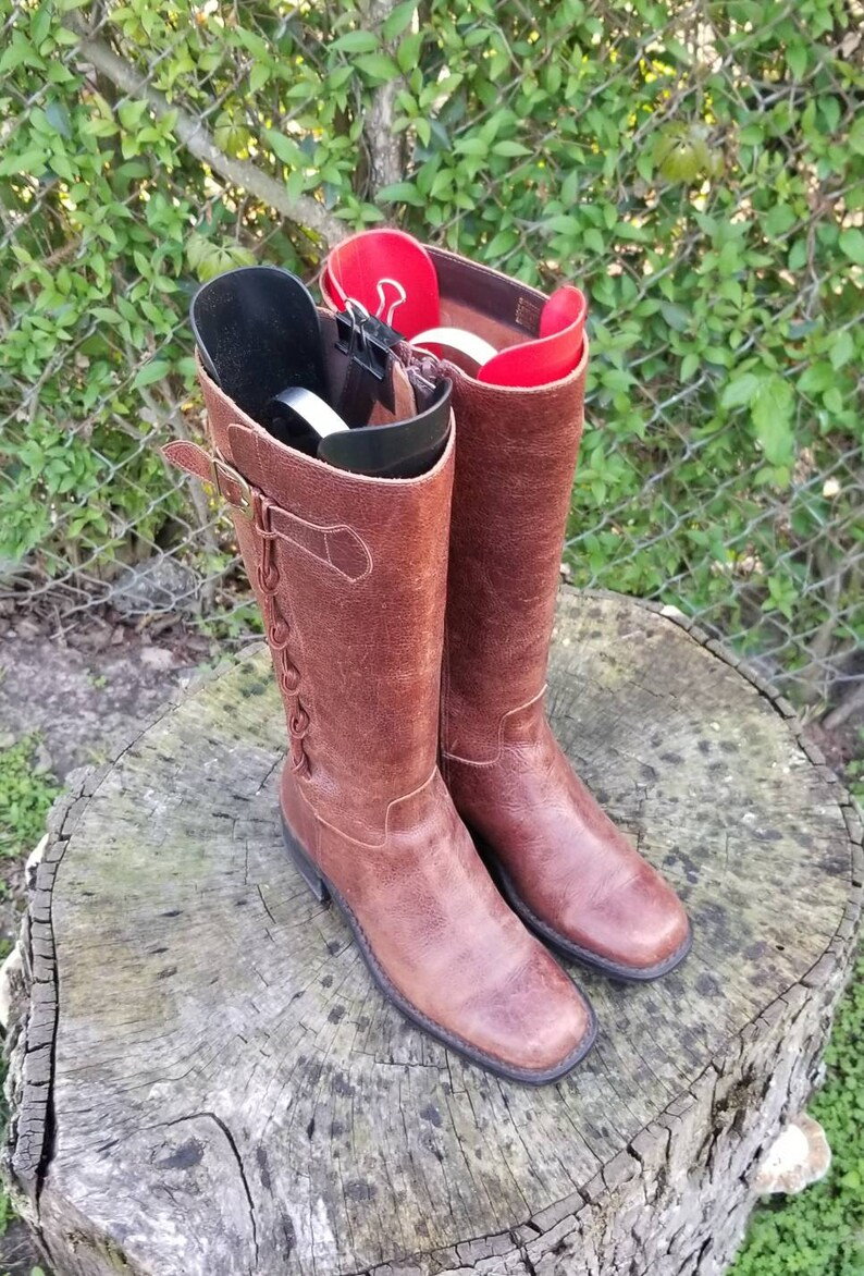 Vintage Genuine Leather Riding Boots For WomenTall Leather Boots Western Style From The 90s