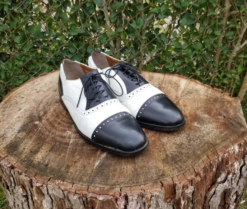 0958cca7a057f Sz.11 Black and White Two Tone Stacy Adams Leather Wingtip Lace Up Shoes.  Vintage 70's