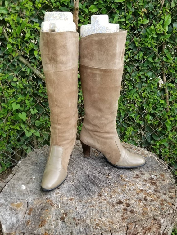 Sz 7.5 Vintage Golo Tan/ Grey Suede Leather Tall-P