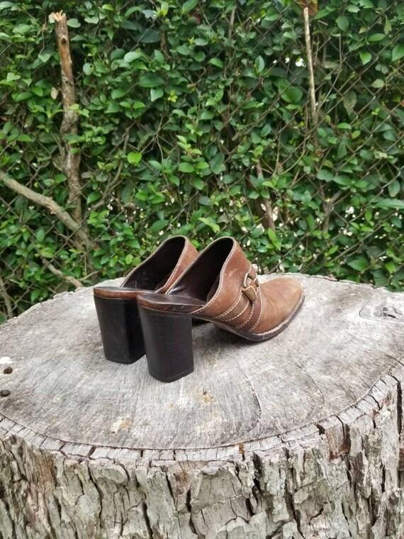 Sz 9.5 Vintage Mules/ Genuine Leather Slide Mules… - image 7
