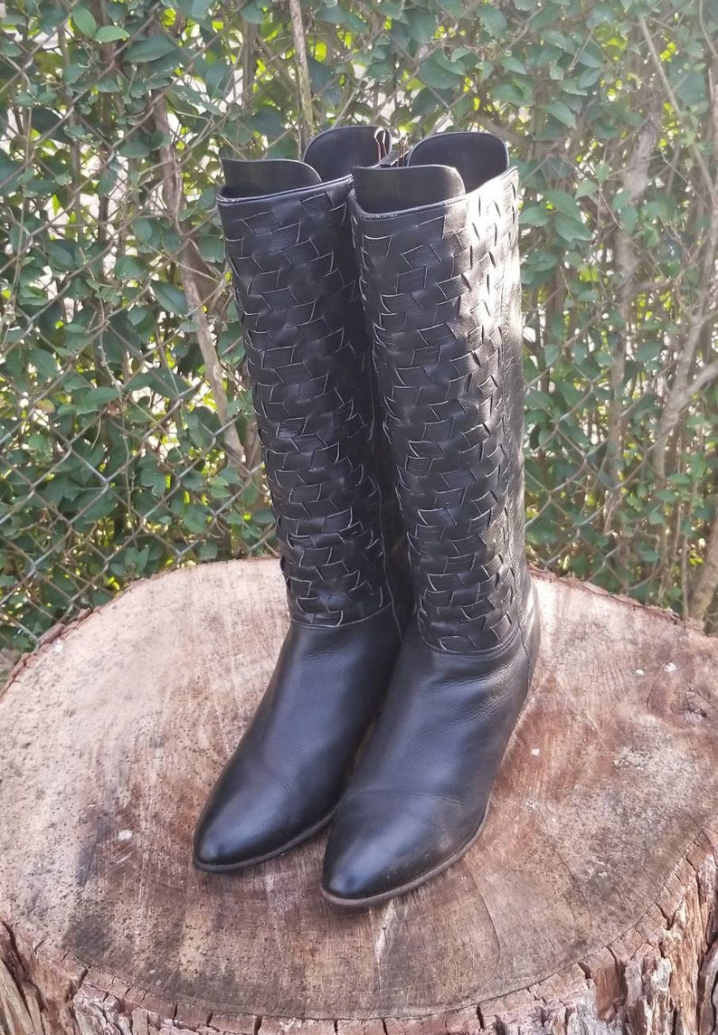3f234494d5070 Sz 8.5 Tall Black Riding Boots/Genuine Braided Leather/Pull On Woven  Boots/Stacked Heel Mid Calf