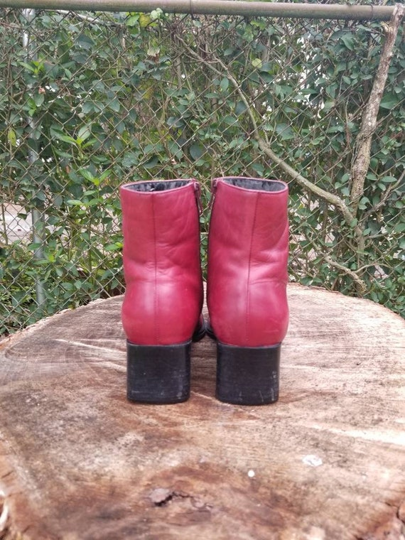 Sz. 7 Vintage Ankle Boots/ Red Genuine Leather/Zi… - image 5