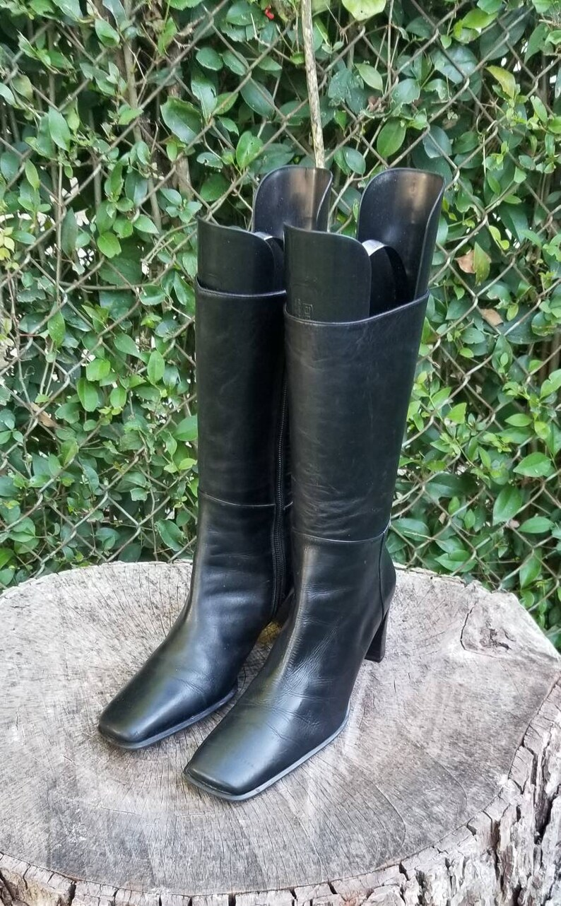 42773179623 Vintage Leather Mid-Calf Boots/High Quality Leather/Side Zipper/1990s  Style/Italian Made