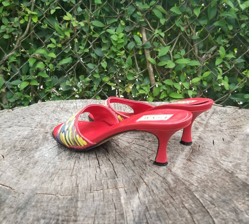 67f1bd4eedbb1 Sz. 7.5 Vintage 1990's Kitten Heel Leather Mules Red And Multi Colored  Designs
