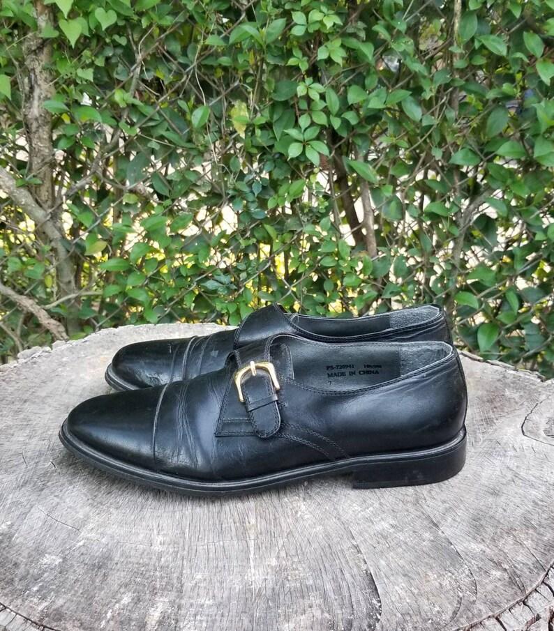 Sz 10.5 Vintage Men/'s Buckle ShoesGenuine  Italian Made Leather60s Hippie Mod Shoes